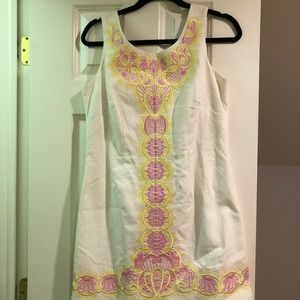 Lilly Pulitzer white dress with pink and yellow